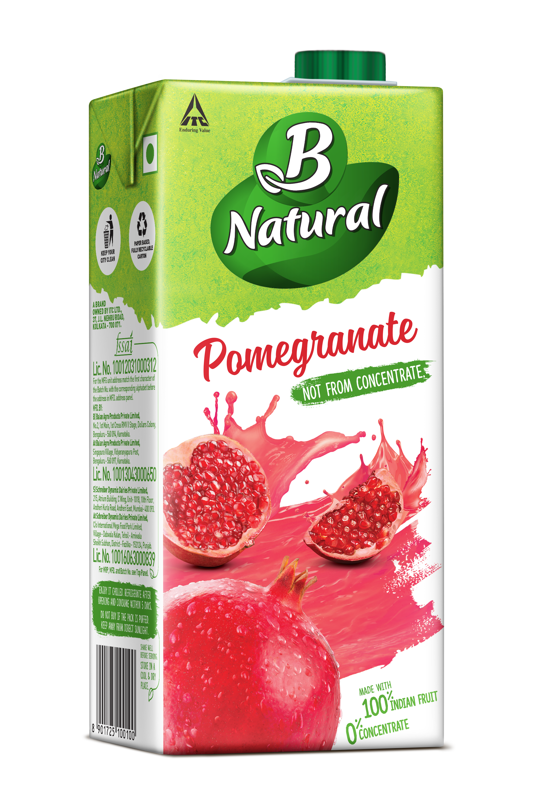 b natural – 100% indian fruit 0% concentrate